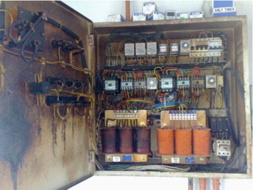 Domestic panel circuit with transformer burn, electrical burn concept