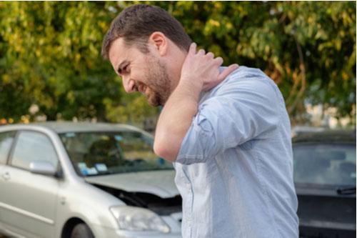 Man with neck pain after car crash