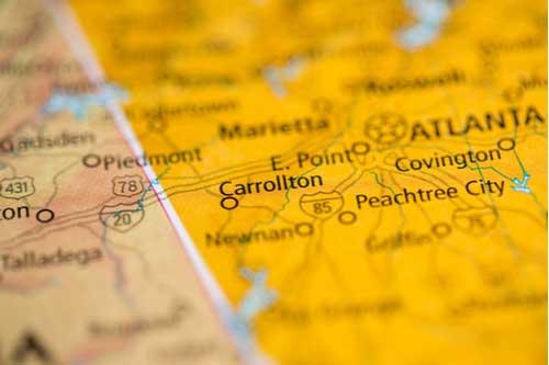 Carrollton, Georgia, USA on map