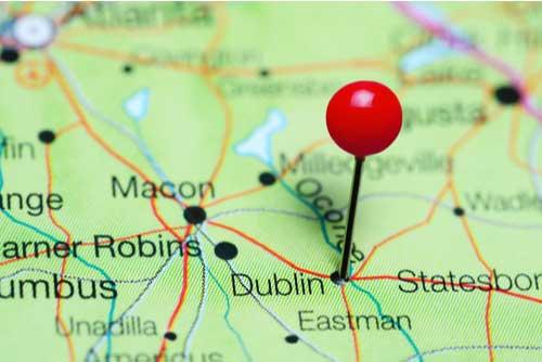 Dublin pinned on a map of Georgia, USA