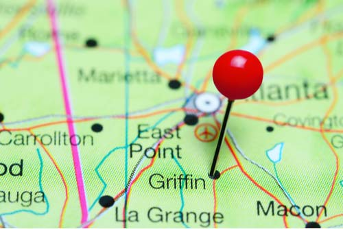 Griffin pinned on a map of Georgia, USA
