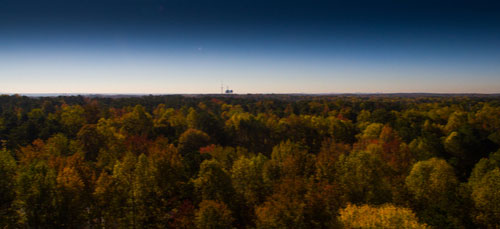 Fall foliage in North Georgia with Johns Creek water towers in background
