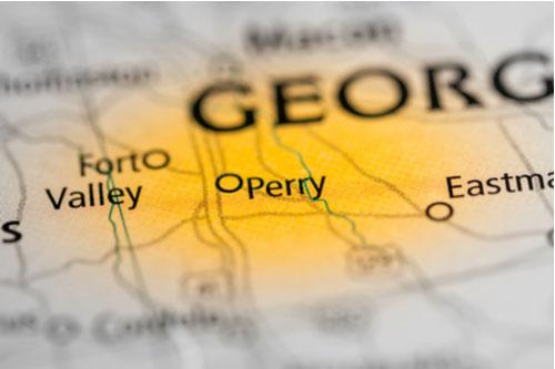 Perry, Georgia, USA on a map