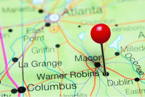Warner Robins pinned on map of Georgia, USA