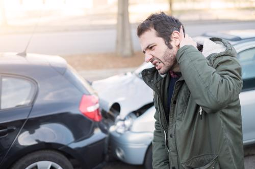 A man with a neck injury after a car accident.
