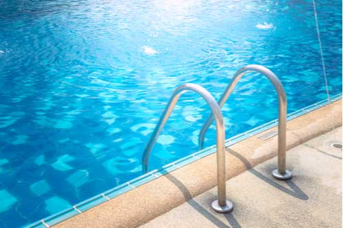 Grab bars at swimming pool